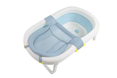 Baby Bath – Foldable Baby Bath Tub, Toddler/Kids/Infant Shower Basin with Foldable Safe and Sturdy Non Slip and Non Toxic Portable Features for Easy Bathing (Blue)