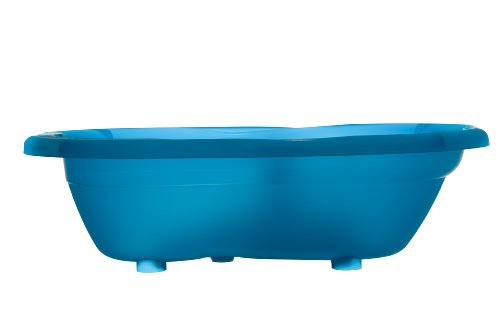 Rotho Babydesign TOP Bath tub, with Anti-Slip Mat and Drain Plug, 0-12 Months, TOP, Translucent Blue, 200010209