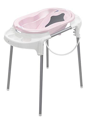 Rotho Babydesign Bath Set with Bath Tub and Adjustable Stand, 0-12 Months, Rose, TOP Bath Set, 21042024801