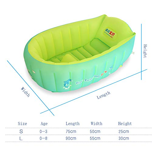 YAAVAAW Inflatable Baby Bathtub,Infant Shower Tub Anti-Slip Shower Basin,Toddler Bathing Seat Mini Swimming Pool Foldable Travel Bath Tub Shower Basin with Soft Cushion Central Seat(for 0-3 Years)