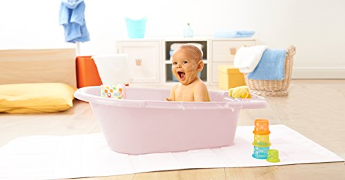 Rotho Babydesign Bath Tub, With Drain Plug, 0-12 Months, Bella Bambina, Sweet Rose, 200200268