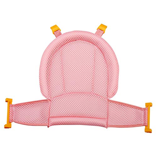 Baby Bathtub Net, 4-Buckle Adjustable High Quality Comfortable Non-Slip T-Shape Safety Bath Tub Bathtub Support Seat Net Sling Hammock for 0-13 Months Newborn Baby Toddlers Pink