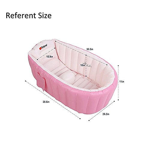 Inflatable Baby Bathtub,OIF Portable Kid Infant Toddler Thick Soft Cushion Air Swimming Pool Central Seat 1