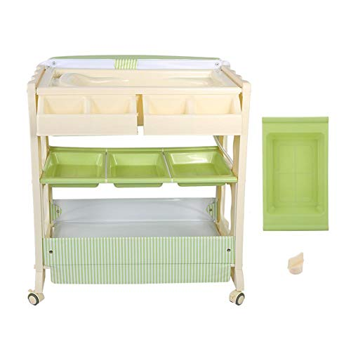 Baby Changing Table, Multifunctional Baby Bathtub Shampoo Storage Rack Baby Clothes Storage Detachable Rolling Station Storage Unit, Green