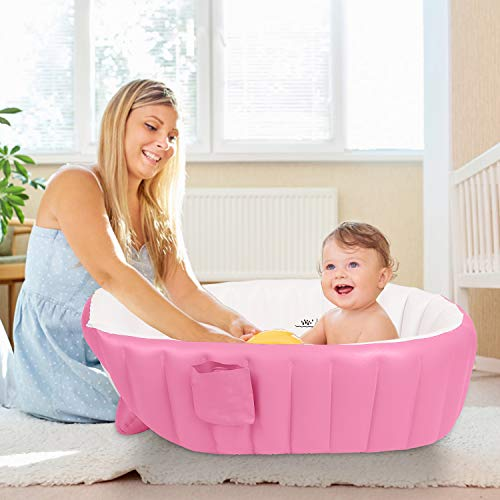 Inflatable Baby Bathtub Bath Tub Foldable Travel Shower Basing for Newborn Infant Kids (Pink)
