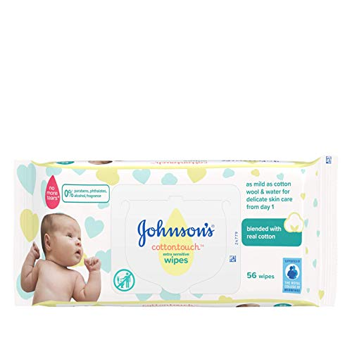 JOHNSON'S Cottontouch Extra Sensitive Wipes 1008 ct (56×18) – Blended with Real Cotton – pH Balanced for Delicate Skin