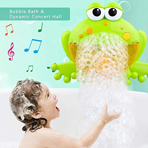 HengGL Baby Bath Bubble Toys,Tub Big Frog Automatic Bubble Maker Blower Toys with 12 Music Baby Fun Shower Toys , for Boys, Girls (Green Frog)