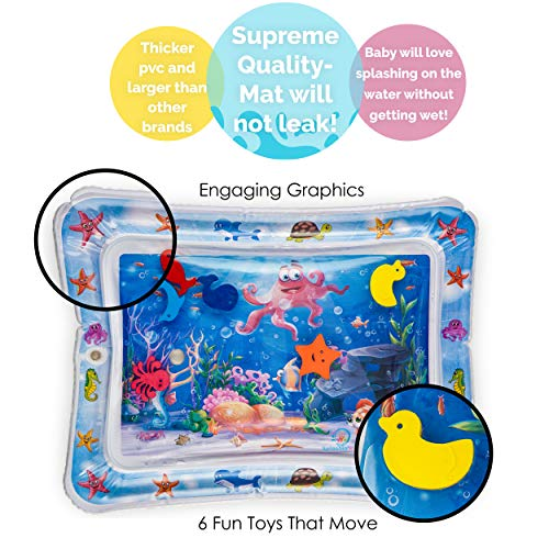Splashin'kids Inflatable Tummy Time Premium Water mat Infants & Toddlers is The Perfect Fun time Play Activity Center Your Baby's Stimulation Growth 1
