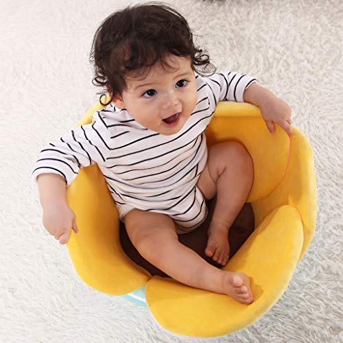 Baby Bath Support Lounger,Kakiblin Flower Baby Bath Comfort Baby Bath Pad for 0-6 Months (Yellow)