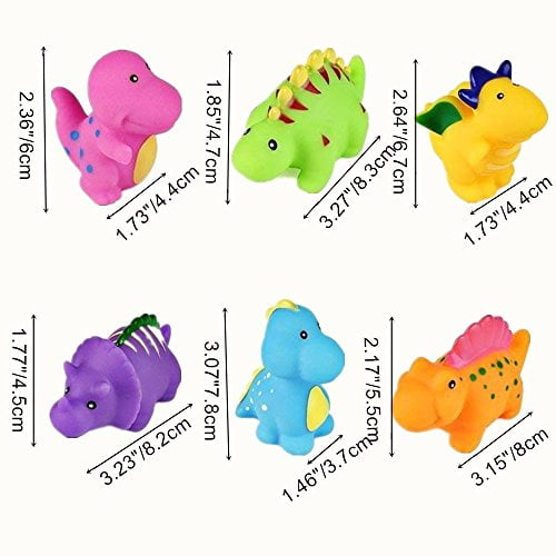 6 Pack Baby Bathtub Toys, Dinosaur Toy for Bathing, Water Squirt Toys Floating Bathroom Toy Swimming for Children Kids Infant Toddler (colorful) 1