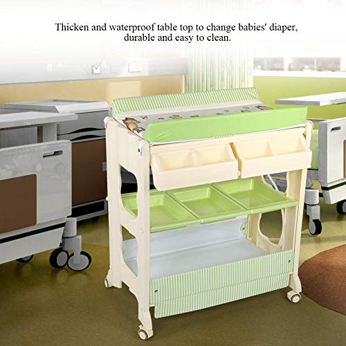 Multi Function Baby Bathtub, 3 Layers Infant Baby Changing Table Infant Bath Tub Unit Diaper Changing Station with Rolling Wheels
