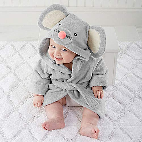 Baby Boys & Girls Unisex Dressing Gown (Ages 6-24 Months) Soft Plush Flannel Fleece Hooded Bath Robe, Blue, 12 - 18 Months 1