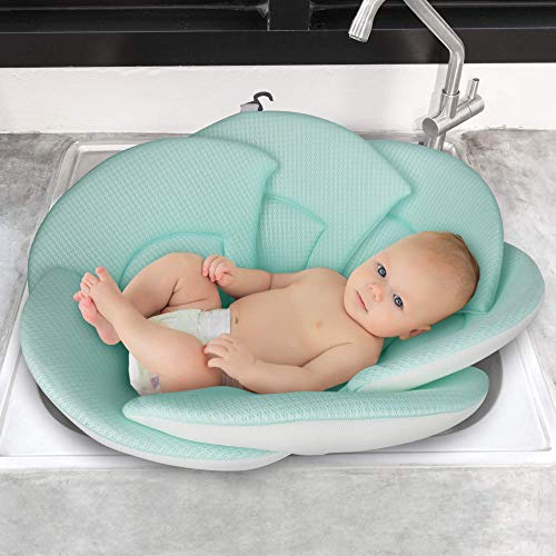 Baby Bath Flower Support Lounger Sink Bathtub Cushion Pad for Newborn Christening, Birthday Party Towelling Safety (0-6 Months Infant) (Yellow) 1